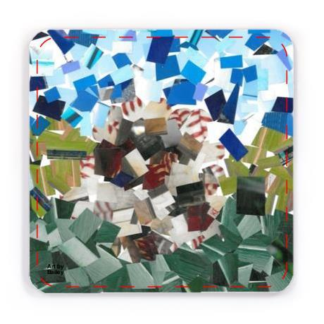 Coaster with design of Collage made of square shaped cut photographs. In the center is a round object that is mostly white with hints of red lace. This ball is in the center of a field of two shades of green, lighter in the middle and darker near the bottom of the collage. The Sky is sparsely covered with different shades of blues.