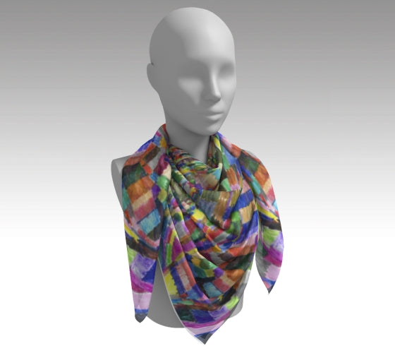 Mannequin wearing neck scarf with varying size rectangles placed vertically and horizontally in all colors