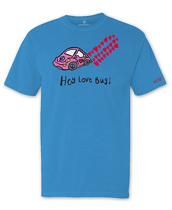 Blue tshirt with pink VW bug with red hearts coming from the tailpipe above Hey Love Bug slogan