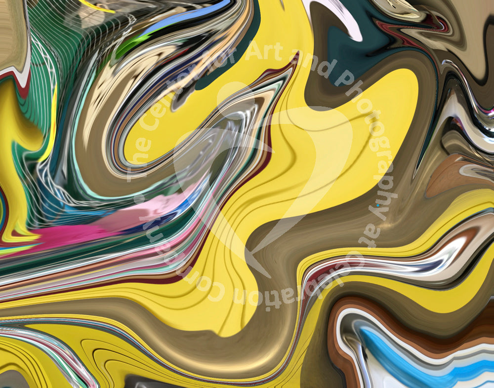 Artwork depicting swirling design of yellow, gold, green, pink swirl