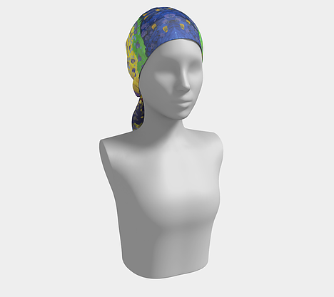 Mannequin wearing headscarf with red, purple, yellow and blue background with dots