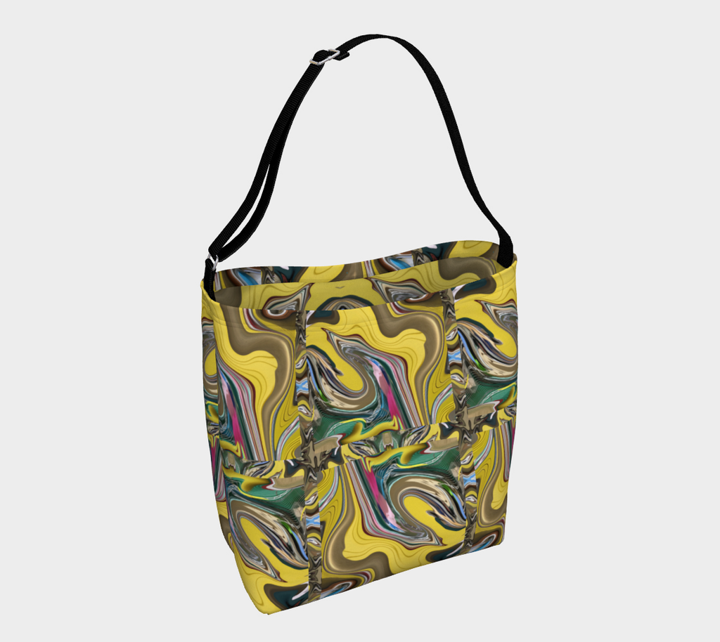 Crossbody bag with black strap and swirling design of yellow, gold, green, pink swirl