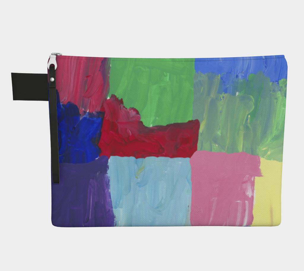 Zippered carryall depicting free-form squares in rows in colors of bright green, light, medium and dark blue, red, pink, purple and yellow
