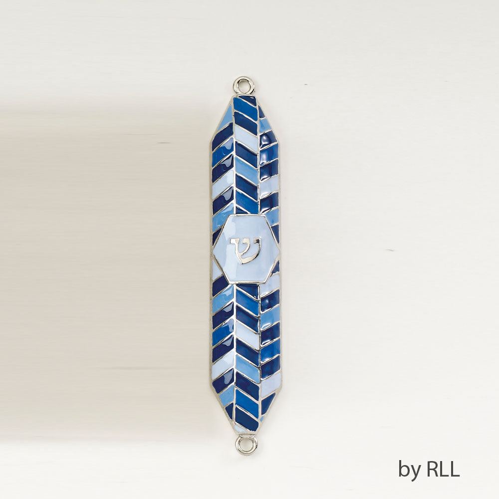 Enamel mezuzah with geometric shapes in various shades of blue
