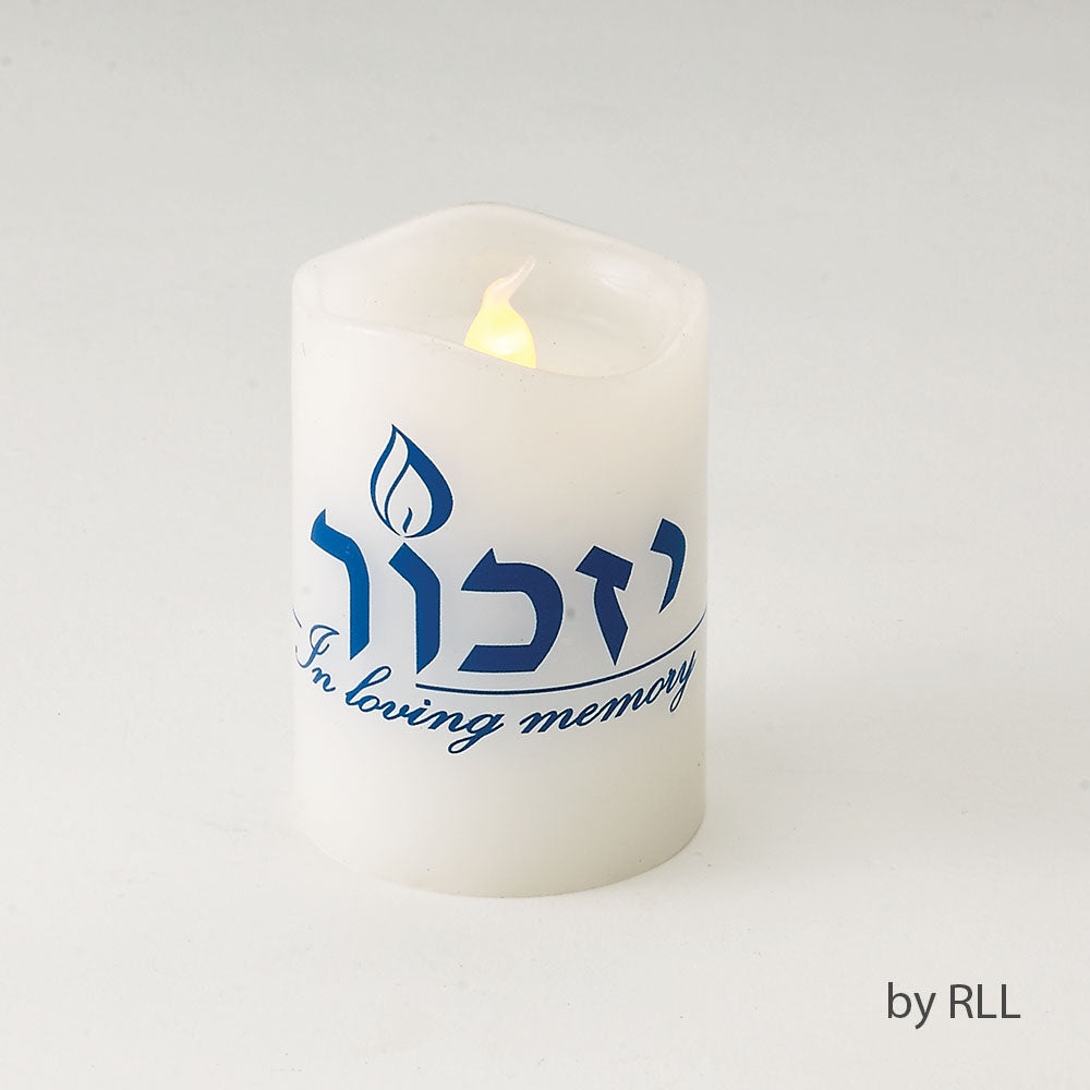 White LED Flameless Yizkor candle with blue Yizkor in Hebrew above In Loving Memory in English writing