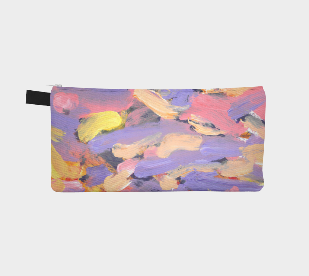 Zippered pencil case with purple, pink, yellow and white streak design