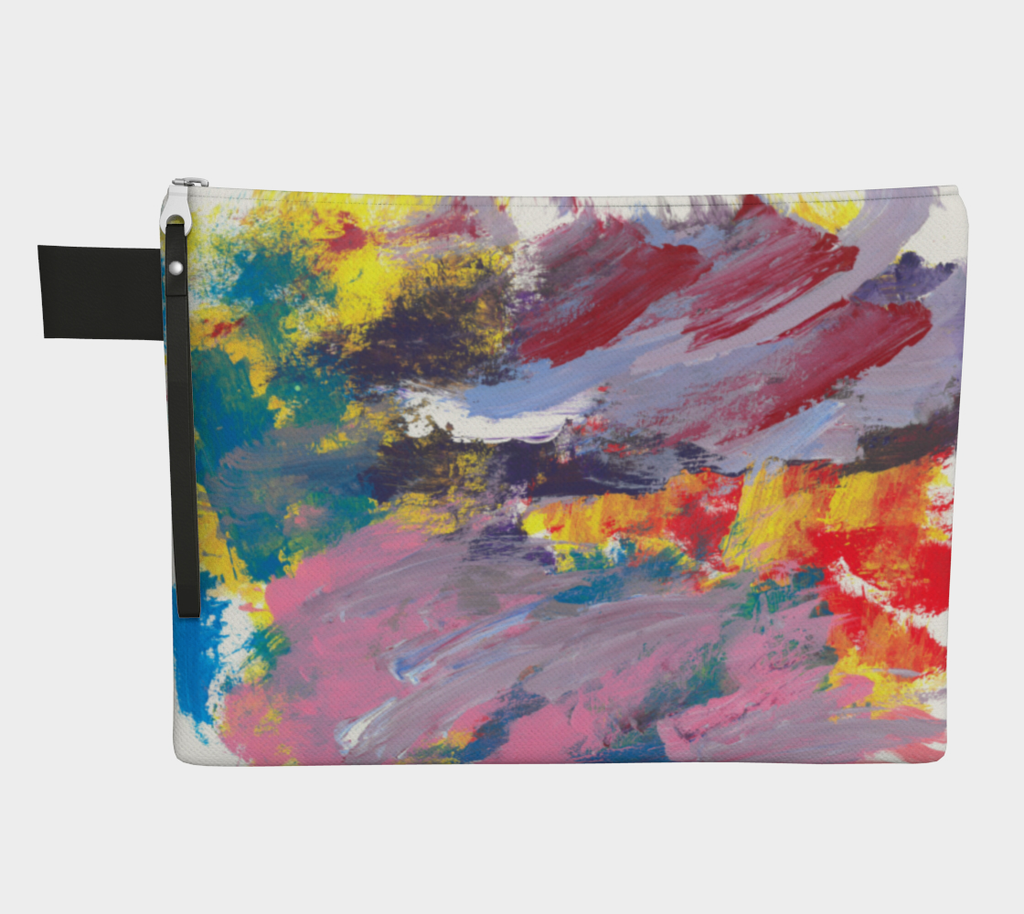 Zippered carryall depicting yellow, red, pink, turquoise, purple and lavender streak design