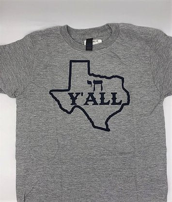 Gray tshirt with blue Texas with Chai Y'all slogan in the middle