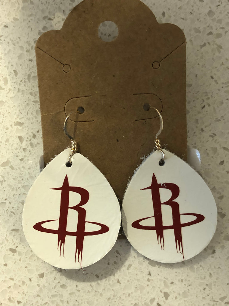 Tear drop shaped white leather earrings with Houston Rockets logo