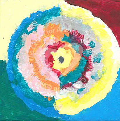 Circle within circle design with blue, green, orange, pink, yellow and red colors