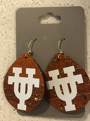 Tear drop shaped burnt orange leather earrings with UT logo