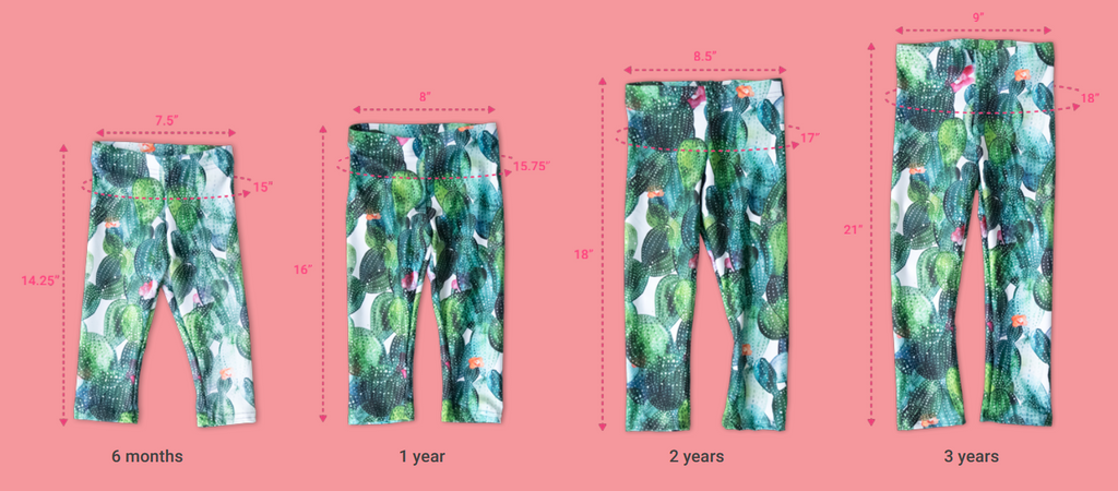 Size chart for leggings showing 6 month, 1 year, 2 year and 3 year options