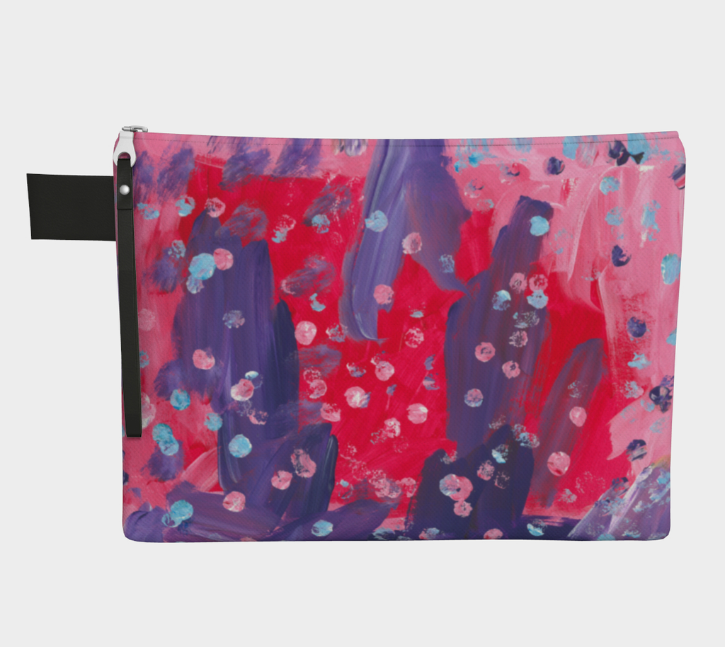 Zippered carryall bag with abstract design of pink, purple, and red paint with light blue dots