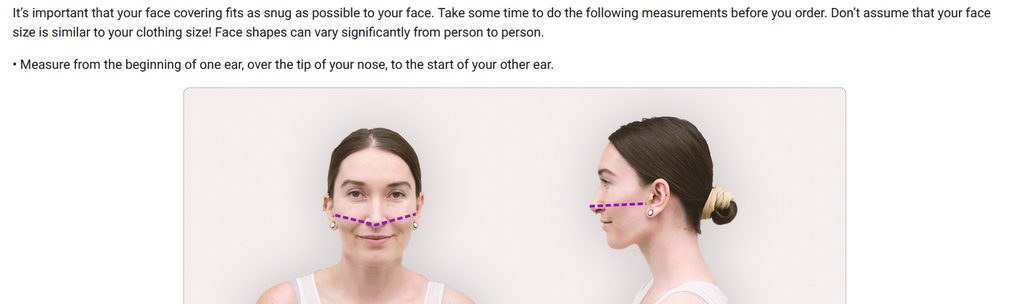 Picture of woman showing measurements of how mask measurements should be taken