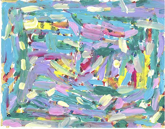 Artwork depicting pink, turquoise, lavender, green and yellow paint streaks