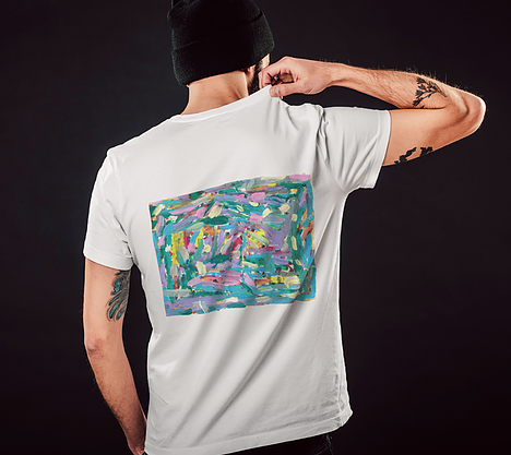 Back of white tshirt with square print artwork depicting pink, turquoise, lavender, green and yellow paint streaks
