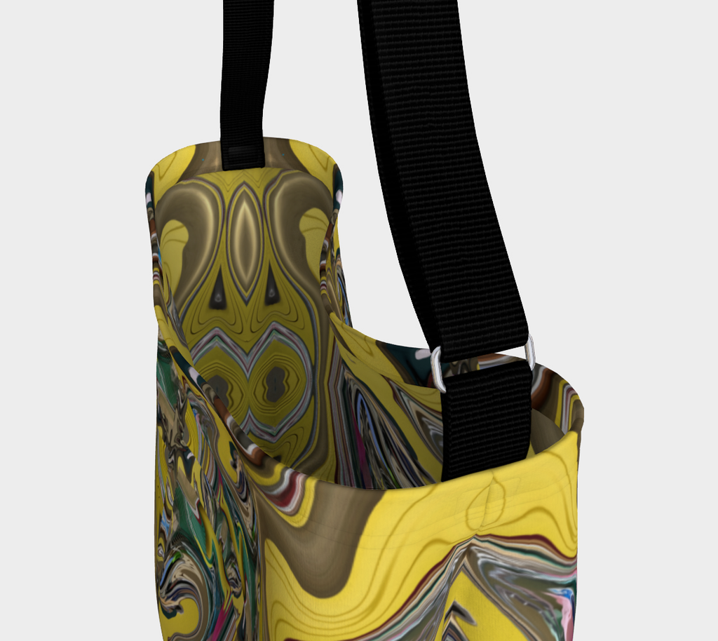 Close up view of Crossbody bag with black strap and swirling design of yellow, gold, green, pink swirl