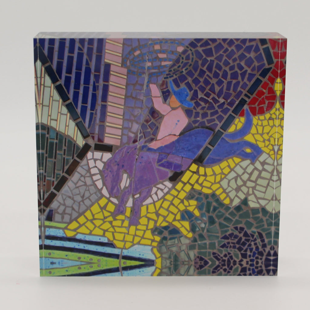 Acrylic block with mosaic tiles depicting a cowboy on a bucking bronco