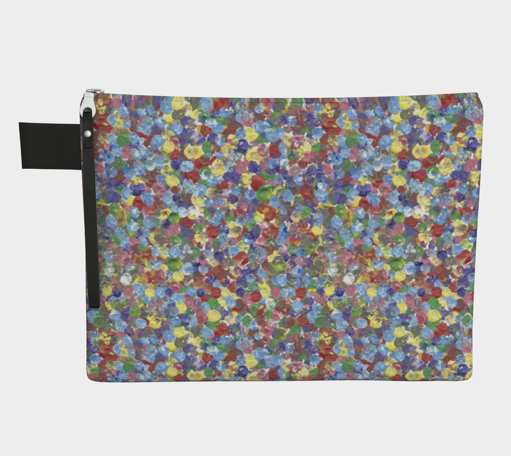 Zippered carryall bag with rainbow dots