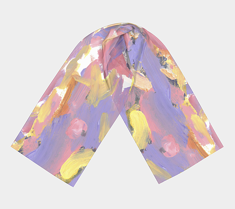 Flat lay view of scarf with purple, pink, yellow and white streak design