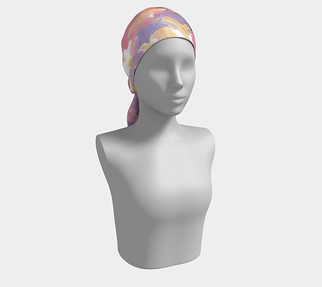 Mannequin wearing head scarf with purple, pink, yellow and white streak design