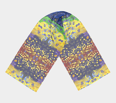 Flat lay view of scarf with red, purple, yellow and blue background with dots