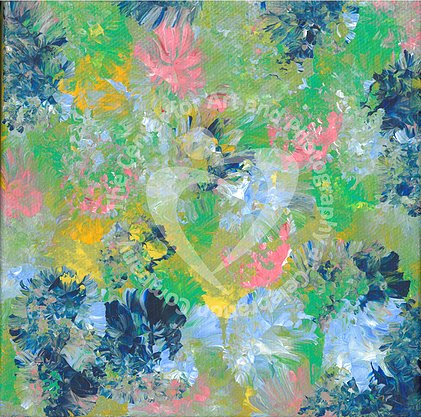 Artwork depicting spring flowers of pink, dark and light blue, green and yellow