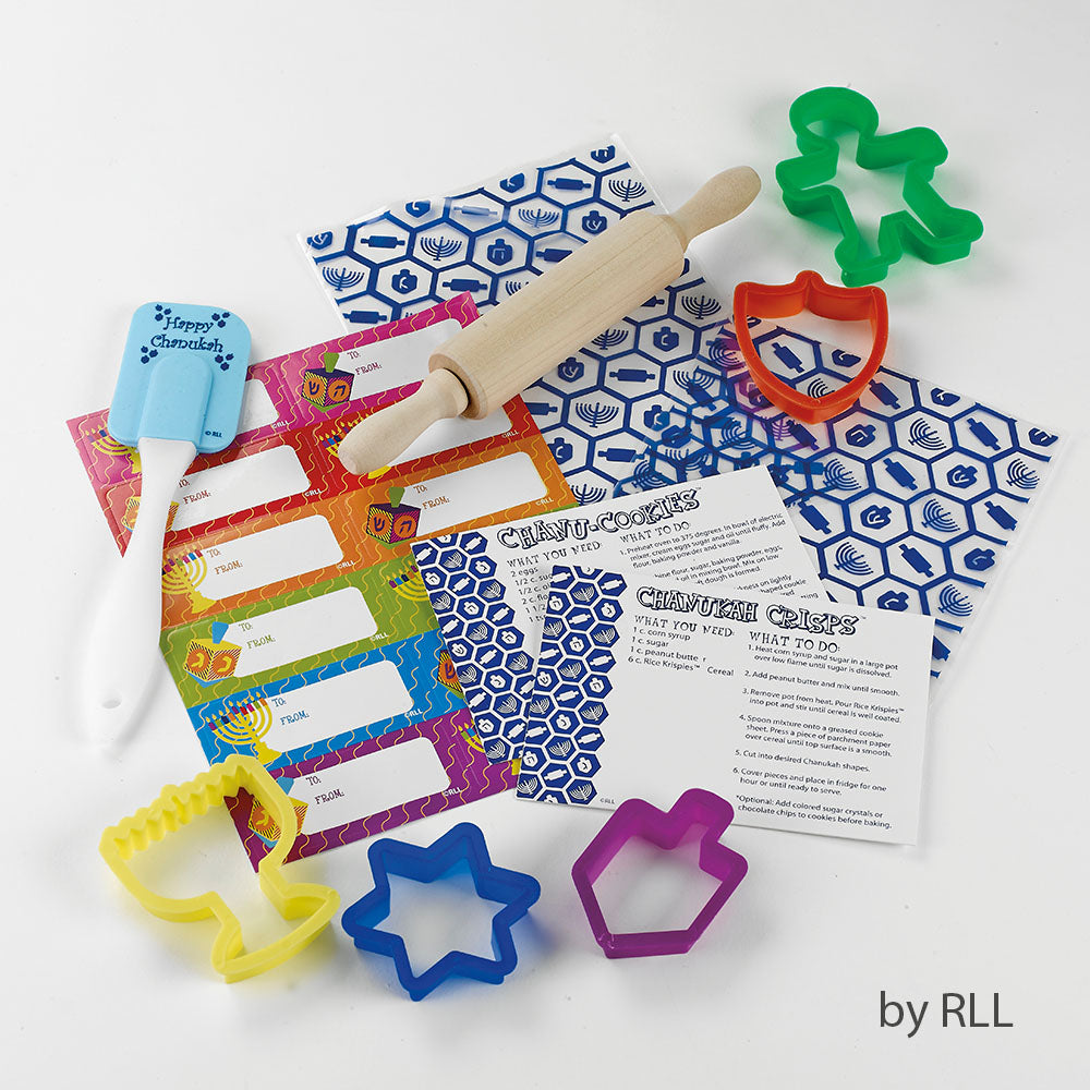 Bags, tags, rolling pin, spatula, cookie cutters and recipe