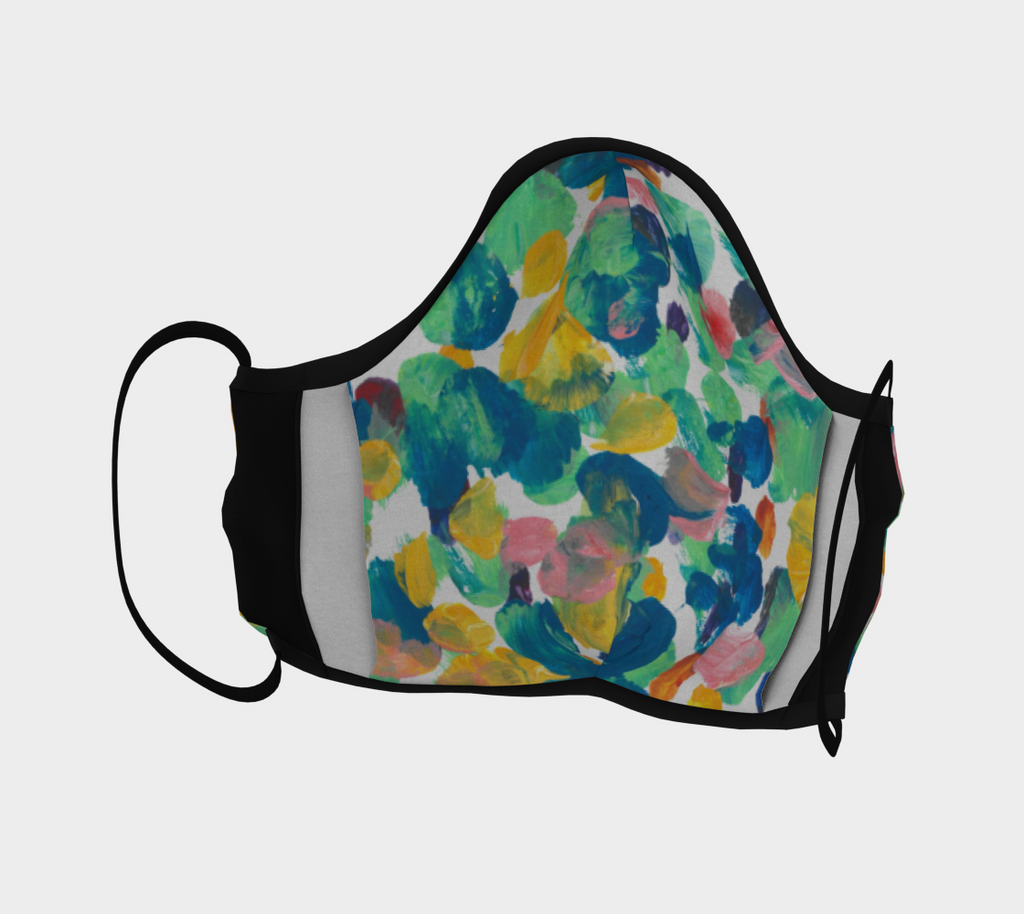 Front view of Face mask with blue, green, yellow and pink dots design