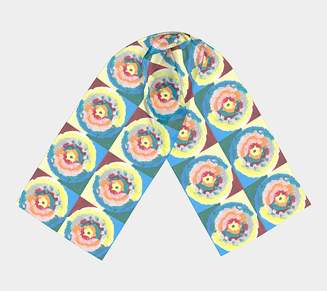 Scarf with colorful circle within circle design with blue, green, orange, pink, yellow and red colors