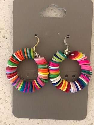Rainbow colored fimo clay circle earrings