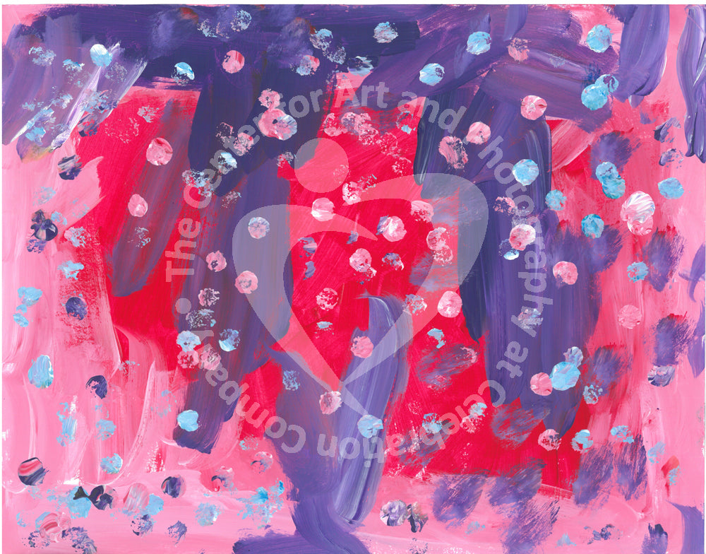 Abstract design of pink, purple, and red paint with light blue dots