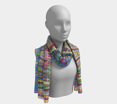 Mannequin wearing neck scarf with rainbow colored check print