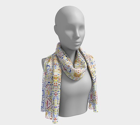 Mannequin wearing white neck scarf with free form shapes of blue, purple, green, yellow, orange and red colors