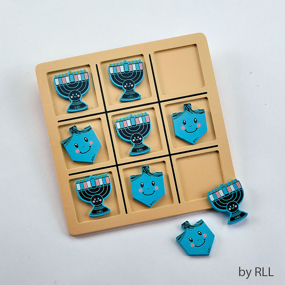 Wooden Tic Tac Toe Game with dark blue menorahs and light blue dreidel game pieces