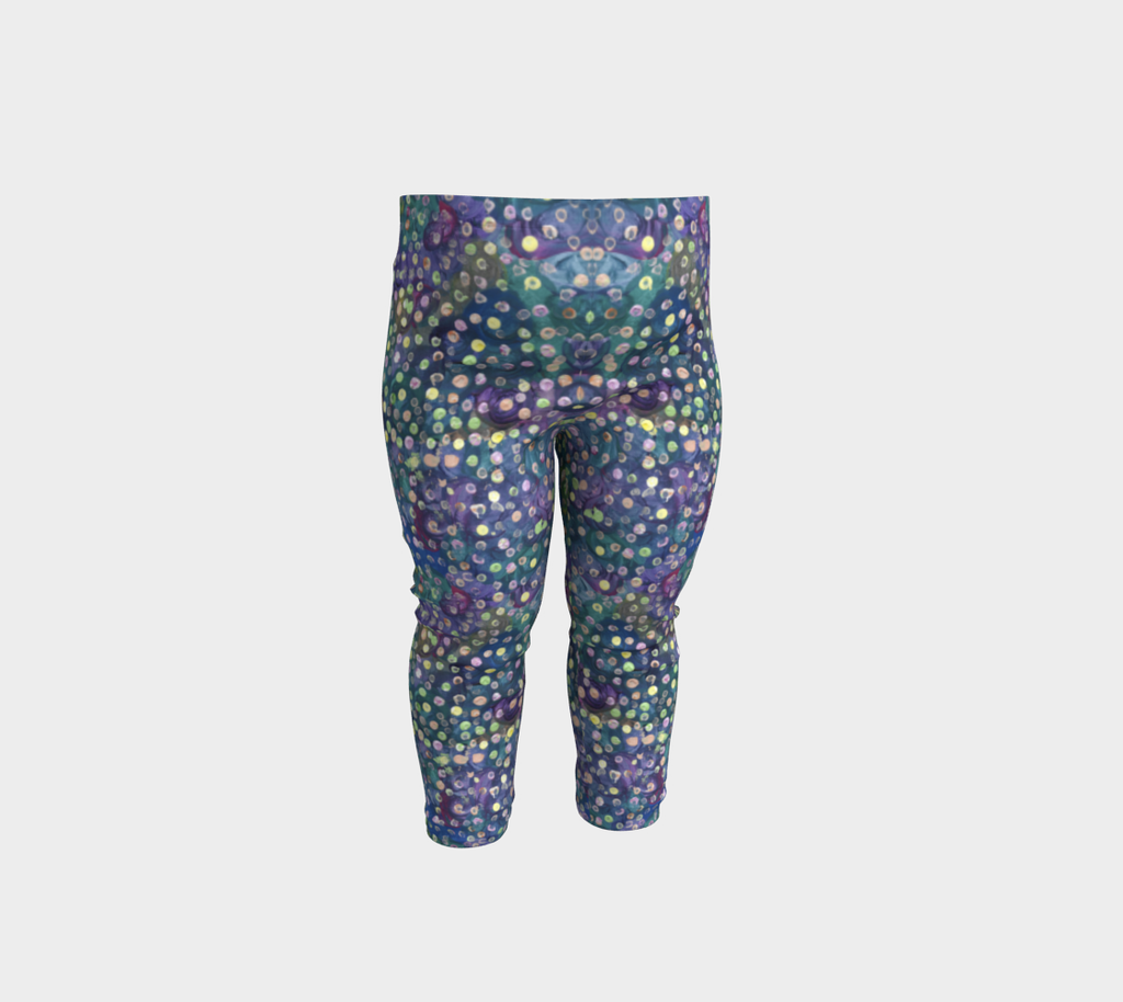 Baby leggings with blue, green and purple swirl background and yellow, green and pink dots
