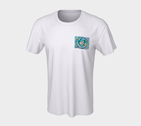 Front of white tshirt with square print artwork on the chest pocket depicting pink, turquoise, lavender, green and yellow paint streaks.  Celebration Company logo is overlaid on the chest pocket artwork