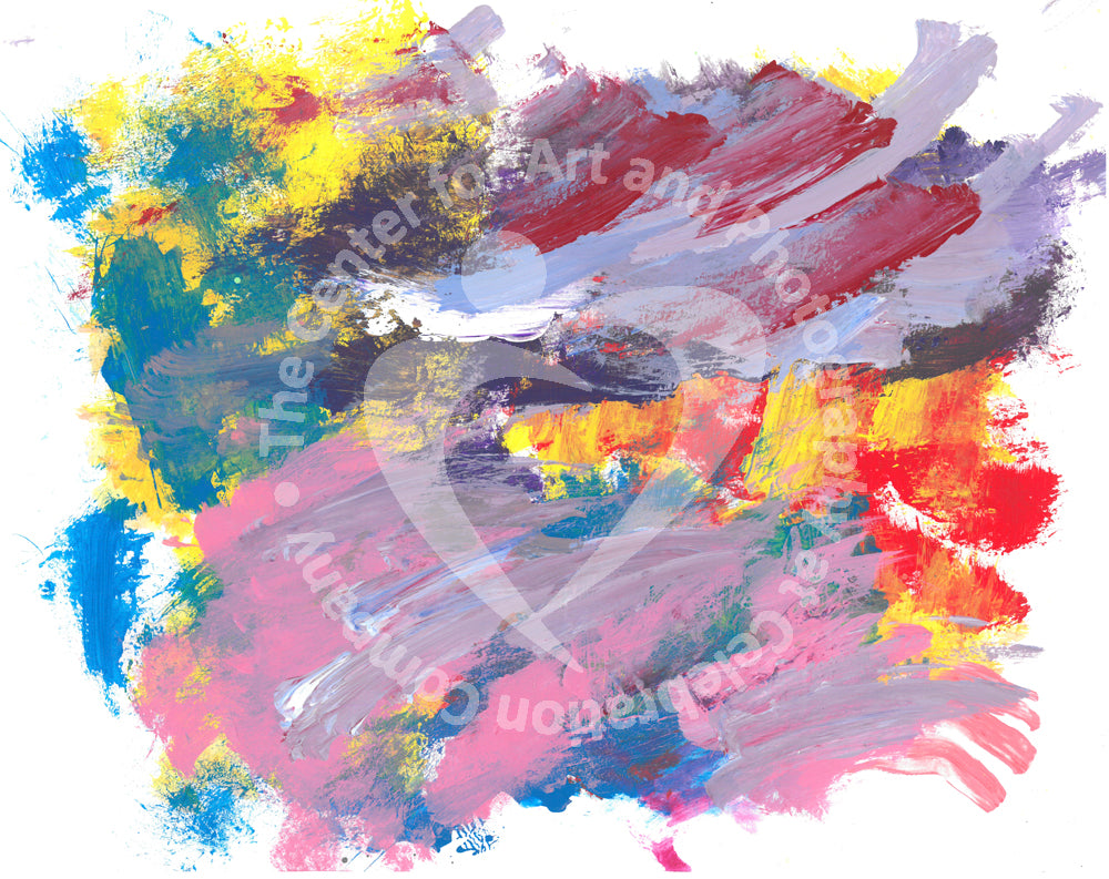 Artwork depicting yellow, red, pink, turquoise, purple and lavender streak design