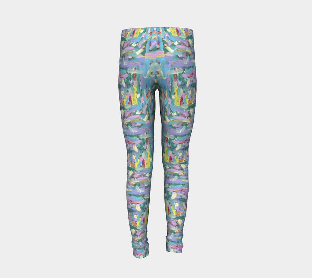 Back of youth leggings depicting pink, turquoise, lavender, green and yellow paint streaks