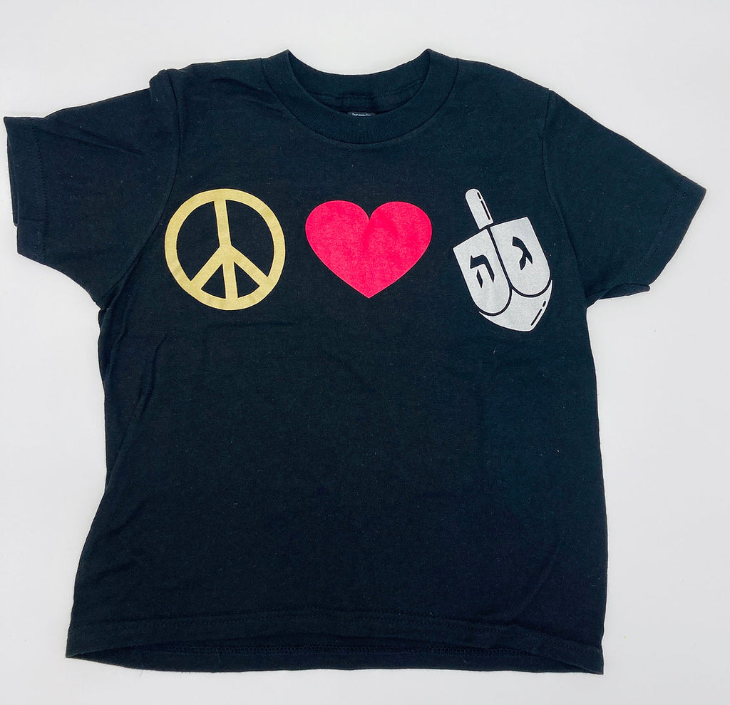 Black tshirt yellow peace sign, red heart, and white dreidel
