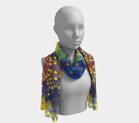 Mannequin wearing neck scarf with red, purple, yellow and blue background with dots
