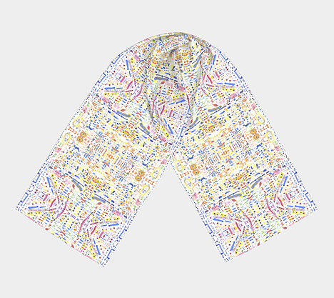 Flat lay view of white scarf with free form shapes of blue, purple, green, yellow, orange and red colors