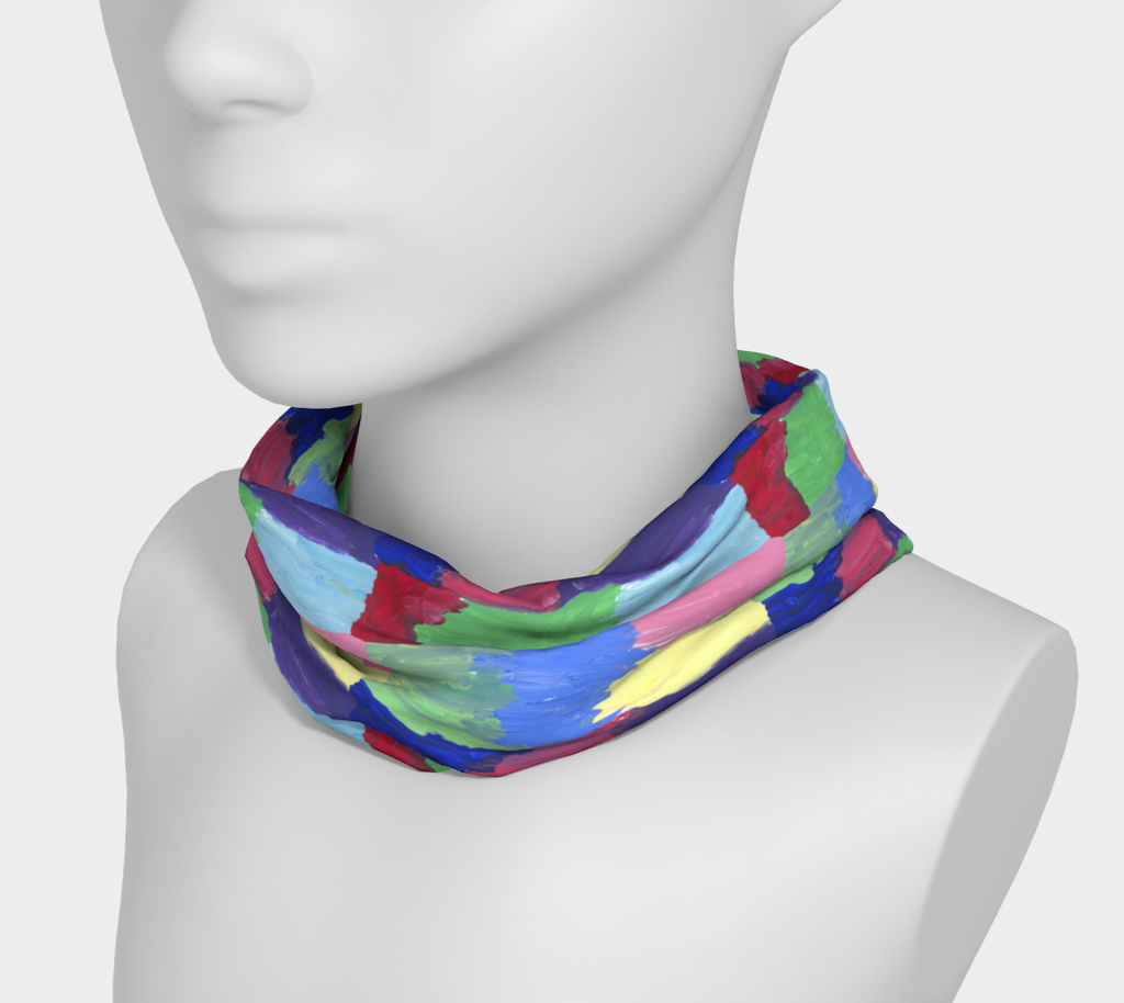 Mannequin wearing neck band with free-form squares in rows in colors of bright green, light, medium and dark blue, red, pink, purple and yellow