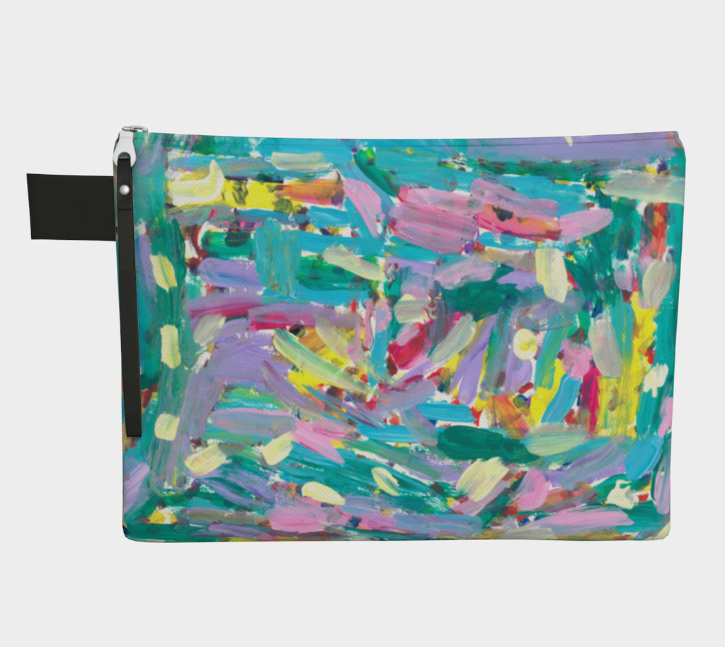 Zippered carrayall depicting pink, turquoise, lavender, green and yellow paint streak design