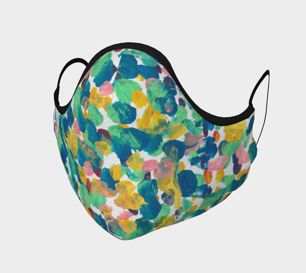 Face mask with blue, green, yellow and pink dots design