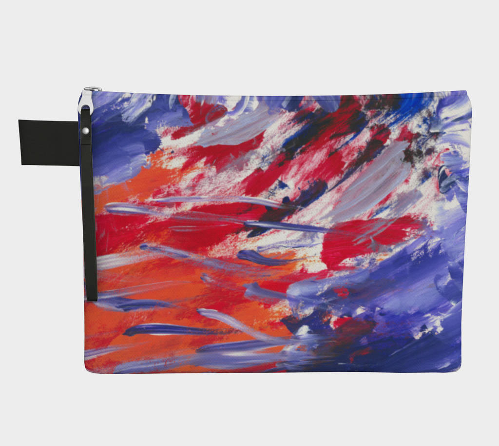 Zippered carryall  with purple, red, orange white streaks