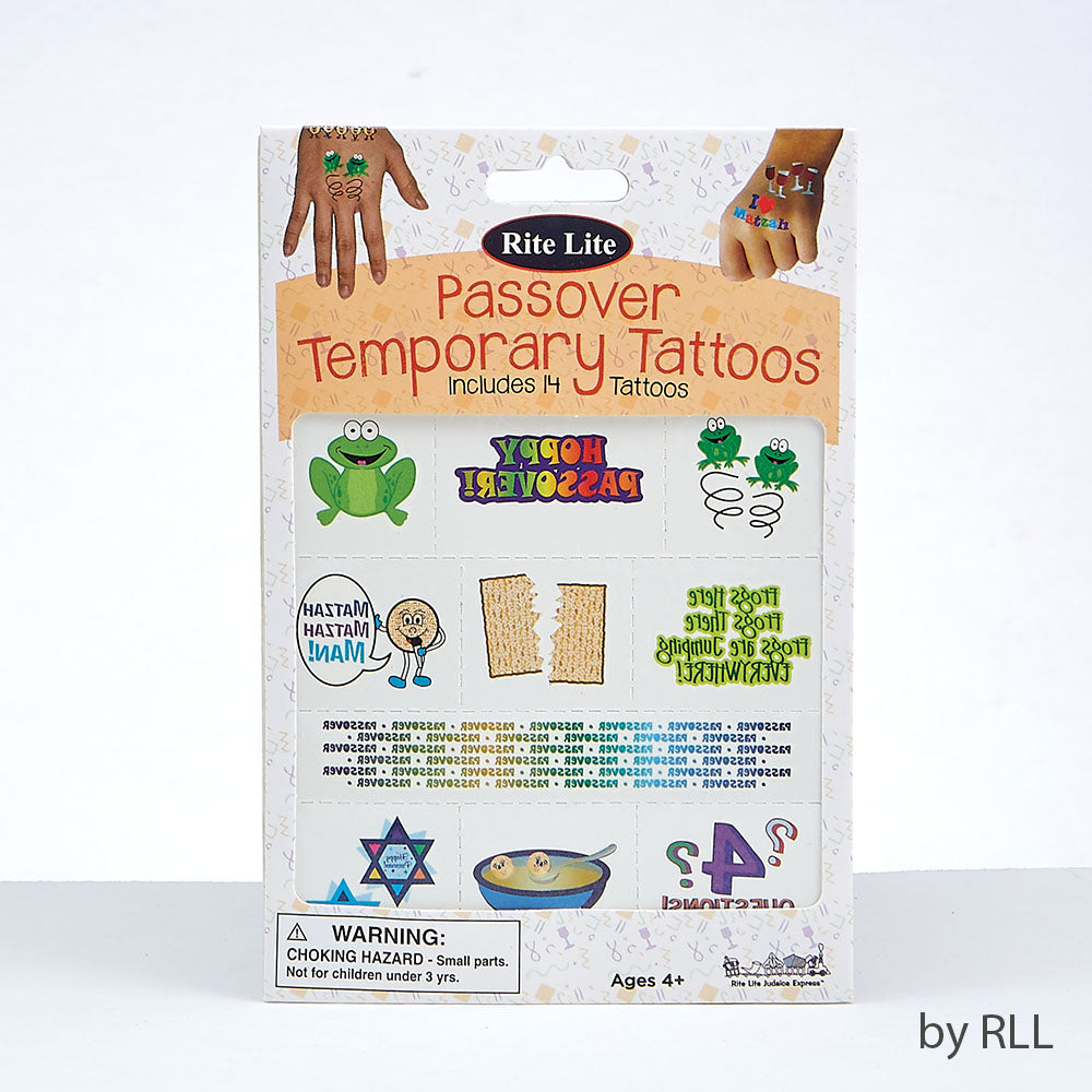 Passover temporary tattoos including a frog, matzah, Jewish stars, Matzah ball soup and Hoppy Passover