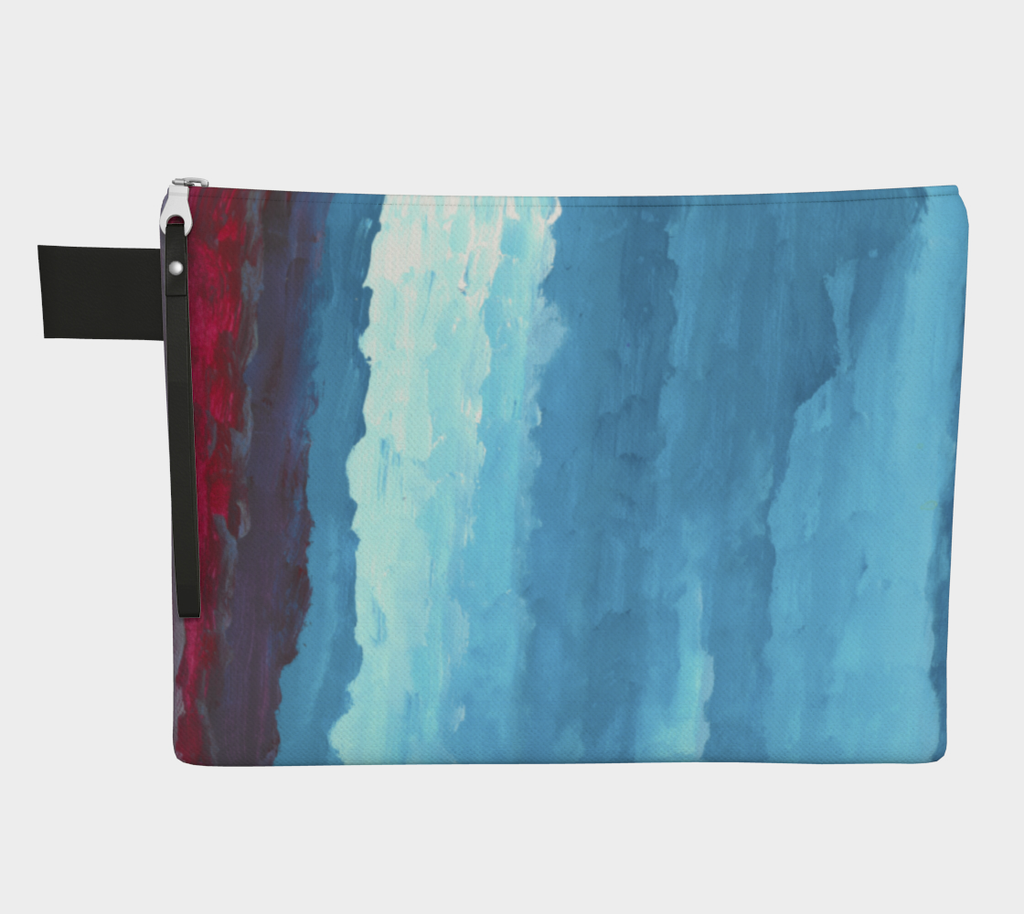 Zippered carryall bag with red, light blue and dark blue gradient design