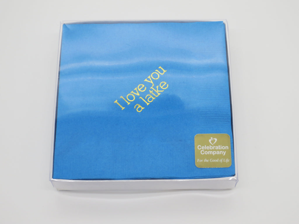 Packaged Light blue cocktail napkins with gold I love you a latke slogan