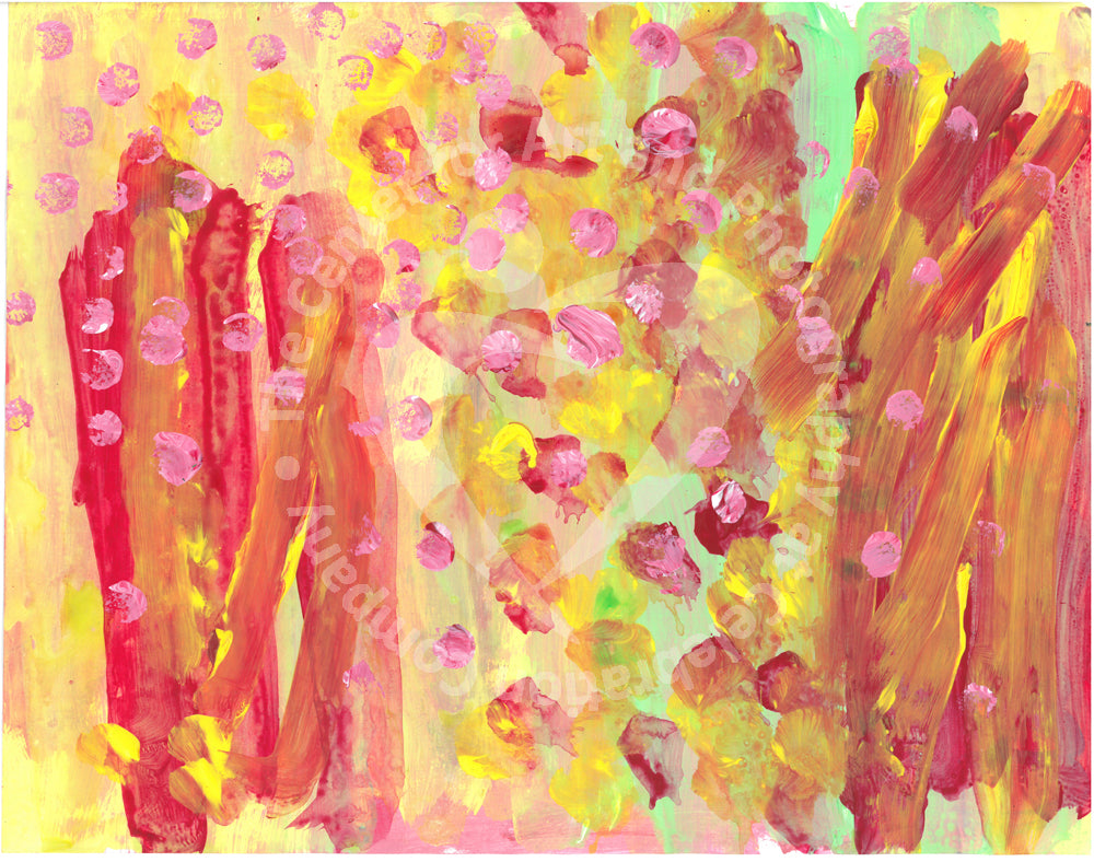 Acrylic on paper artwork with vertical red, yellow and green pain strokes with pink and yellow dots